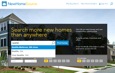 New Home Source homepage