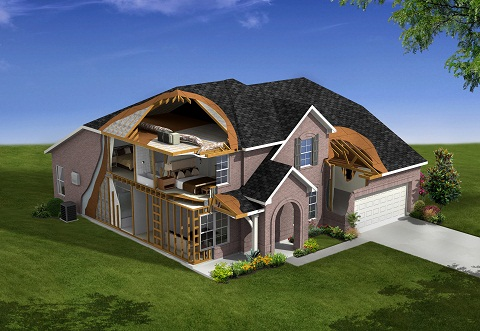 Cutaway diagram of the components that make a home energy efficient from Beazer Homes 